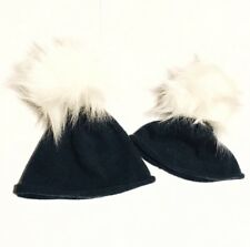 Matching Girl + Doll Fur Pom Pom Cashmere Winter Hats 2 Piece Fits American Girl