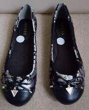 GUESS BLACK EMBROIDERY PUMPS BALLERINA FLAT SHOES SIZE UK4.5 EU37.5