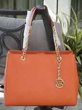 MICHAEL KORS SUSANNAH LARGE TOTE BAG SATCHEL MK TANGERINE ORANGE LEATHER $348