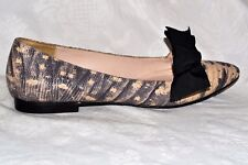 UTERQUE Size 6 / 39 Reptile Style Mary Jane Ballerinas Flats Bow Leather ZARA