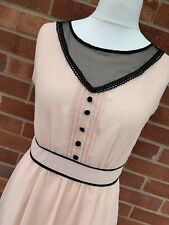 Max C Nude Sleeveless Black Trim Dress 14 Ladies Floaty Lined Quirky Tea Buttons