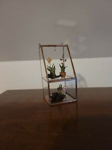 DOLLHOUSE MINIATURE VINTAGE COPPER & GLASS SMALL GREENHOUSE