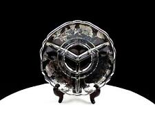 """CAMBRIDGE GLASS SILVER CITY FLANDERS SILVER OVERLAY 3 PART 6 3/8"""" DIVIDED DISH"""