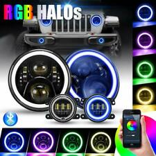 "RGB 7"" LED Halo Headlights + Fog Light Combo Kit for Jeep Wrangler JK 2007-2018"