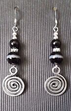 Black Agate Swirl Earrings ~ 925 Sterling Silver Ear Hooks ~  Long drop charm
