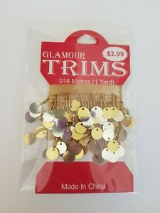 Glamour Trims Gold & Silver mirror .914m 1yard BN Dolls clothes craft dance (63)