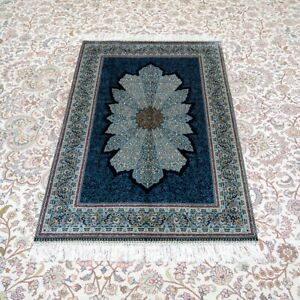 YILONG 3'x4.5' Blue Handknotted Silk Area Rug Living Room Luxury Carpet YWX153A