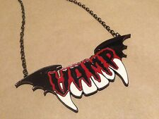 Hard to Find Kreepsville 666 VAMP Necklace Vampire Bat Psychobilly Punk Goth EUC