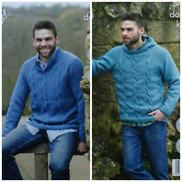 KNITTING PATTERN Mens Long Sleeve Cable Jumper & Hoodie +Sizes DK King Cole 4926