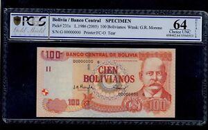 BOLIVIA  SPECIMEN 100  BOLIVIANOS  ( 2005 )  PICK #  231s PCGS 64 CHOICE UNC.
