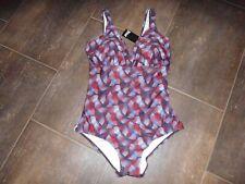 Badeanzug von crivit Gr. 44 blau, weiß, rote Farbnuancen, top Outfit!
