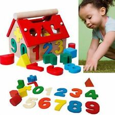 Developmental Baby Wood House Number Shape Building Blocks Educational Toys