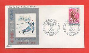 FDC 1968 - Xe Jeux Olympiques d'Hiver - GRENOBLE 1968 - Le ski  (1668)