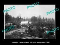 OLD LARGE HISTORIC PHOTO OF SHAWNIGAN LAKE BC CANADA, THE RAILWAY STATION c1900