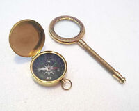 Antique Nautical Brass Magnifying Glass With Brass Lid Compass Collectible