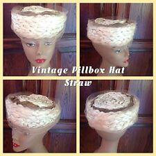 Vintage Ladies Hat Pillbox Straw Vogue Mont Velvet Bow Theatre Wedding