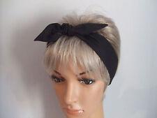 Plain Black Rockabilly Head Wrap, Ladies Hair Tie, Head Scarf ,Pin up Headband
