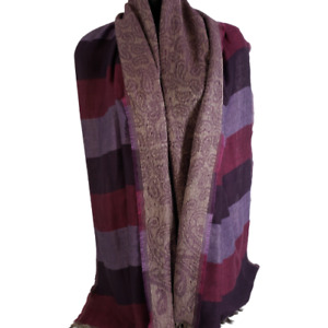 Chicos Two Sided Paisley / Striped Fringe Scarf Extra Soft 24x70 In Shawl Wrap