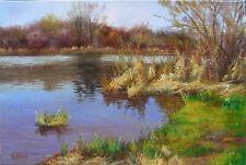 "T0407 Oil painting Canvas stretched Original Russia Soviet Landscape 15""x23"""