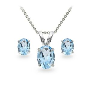 Sterling Silver Blue Topaz Oval-cut Solitaire Necklace and Stud Earrings Set