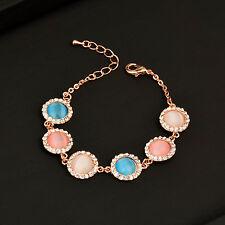 Women 18K Rose Gold Plated Sl197 Fashion Multicolor Round Opal Bracelets for