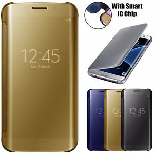 Smart Mirror Clear View Flip Hard Back Case Cover For Samsung Galaxy S8+ S7 Edge