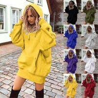 Long Sleeve Womens Hooded Hoodies Ladies Tops Loose Shift Sweatshirt Mini Dress