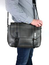 Authentic BURBERRY men's gray nova check shoulder messenger bag