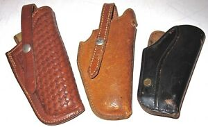 LOT of THREE (3) USED LEATHER PISTOL HOLSTERS~SERVICE MFG CO & TWO (2) LAWRENCE!