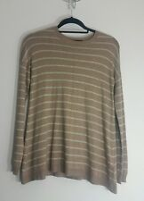 Womens Striped Jumper Size 10 38 Slouchy Loose Crew Neck Smart Casual Sweater