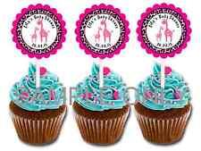 Pink giraffe safari personalized cupcake toppers girl baby shower favors dec