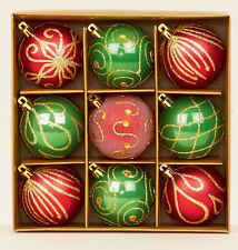 9 X Rouge & Vert Décoré Sapin de Noël Boules Décorations Mélange Finition