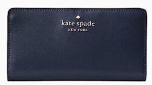 New Kate Spade Staci Large Slim Bifold wallet Navy