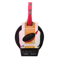 Royalty Line RED 3 Pc Forged Aluminium Frying Pan Set with Non-Stick Marble Coat