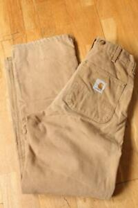 Vtg CARHARTT Work Carpenter Jeans Duck Brown Quilted W32 L32