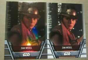 Topps Star Wars Holocron, Zam Wesell, BH-3, Bounty Hunter, Foil Parallel + Base