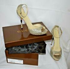 GUCCI Beige snakeskin effect leather high heel sandals UK6 (EUR39.5)
