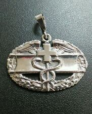 Sterling Silver U.S. Army Combat Medical Badge Pendant