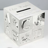 Personalised Engraved Silver Plated ABC Money Box Birthday baby Gift Christening