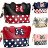 Women's Cartoon Polka Dot Travel Cosmetic Makeup Bag Cute Leather Clutch Handbag