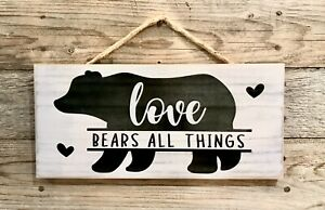 LOVE BEARS ALL THINGS - Handmade Rustic Wood Sign Country Cabin Black Bear Decor