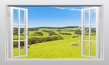 Sheep in a meadow 3D Window Scape Wall Art Sticker Mural Print - VPRNT1036