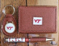 Virginia Tech Football  NCCA Brown Tri-Fold Wallet keyring Pen Gift Set