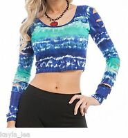 Blue Tie-Dye Cropped/Crop Long Slash Sleeve Distressed Top S/M/L