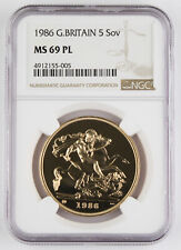1986 5 Pound/Sovereign Gold Coin NGC MS69 PL 1.177 Oz AGW Proof Like GEM BU