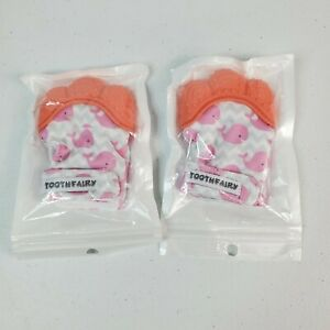 2 Silicone Baby Teething Mitten Teething Glove Candy Wrapper Sound Teether Pink