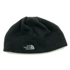 The North Face Hat Cap Beanie Youth One Size Black White Fitted Fleece Skull Kid