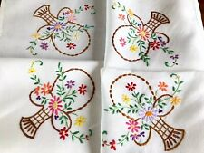 Vintage Hand Embroidered White Linen Tablecloth 37x38 Inches