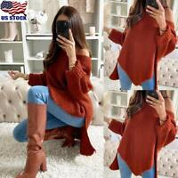 Women's Loose Knitted Long Sleeve Sweater Ladies Off Shoulder Irregular Pullover