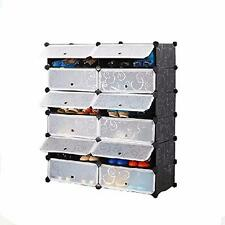 DIY 2 x 6 Cube Shoe Rack Wardrobe Box Storage Closet Organizer Cabinet with Door